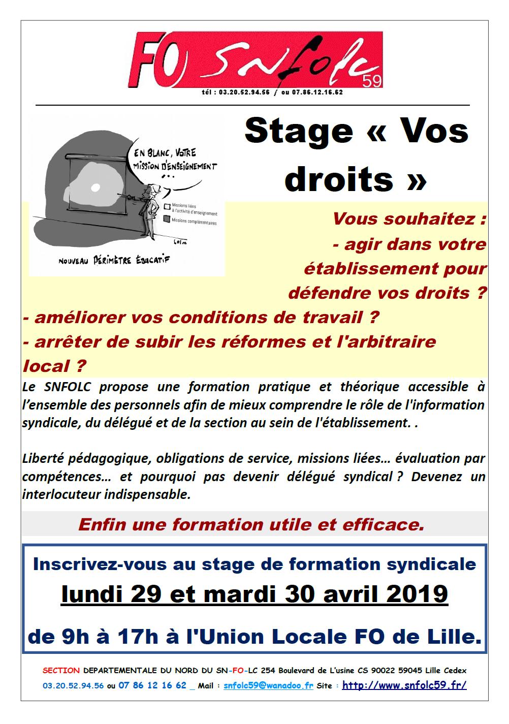 f82dba139bd Inscrivez-vous au stage VOS DROITS (29-30 avril 2019) – SNFOLC Lille